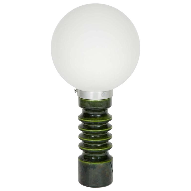 Dark Green Ceramic Lamp Base By Royal Doulton With White Glass Globe Shade  For Sale At 1stdibs