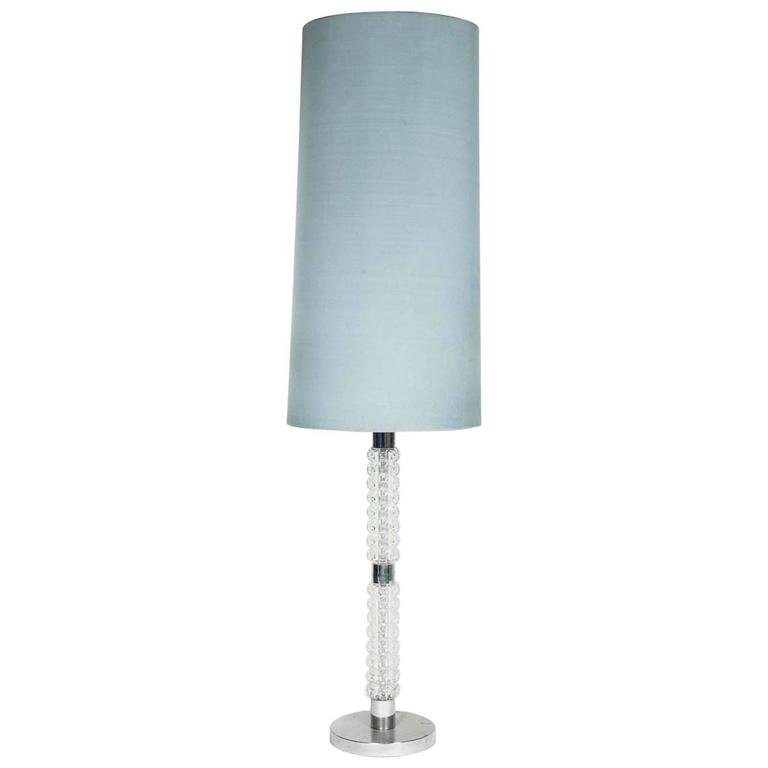 Glass and chrome lamp floor lamp with modern pale blue for Floor lamps chrome and glass