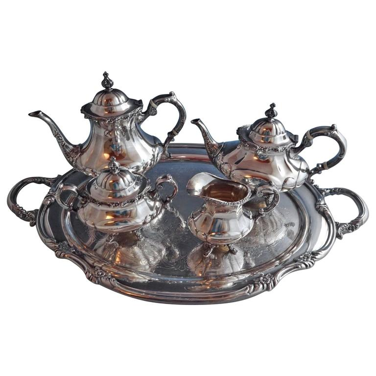 Georgian Rose By Reed And Barton Sterling Silver Tea Set