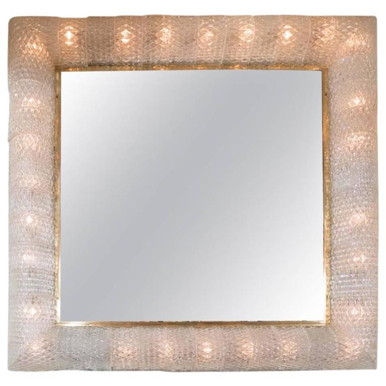 Monumental Square Mirror with Murano Glass Surround