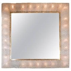 Monumental Square Mirror with Murano Glass Surround