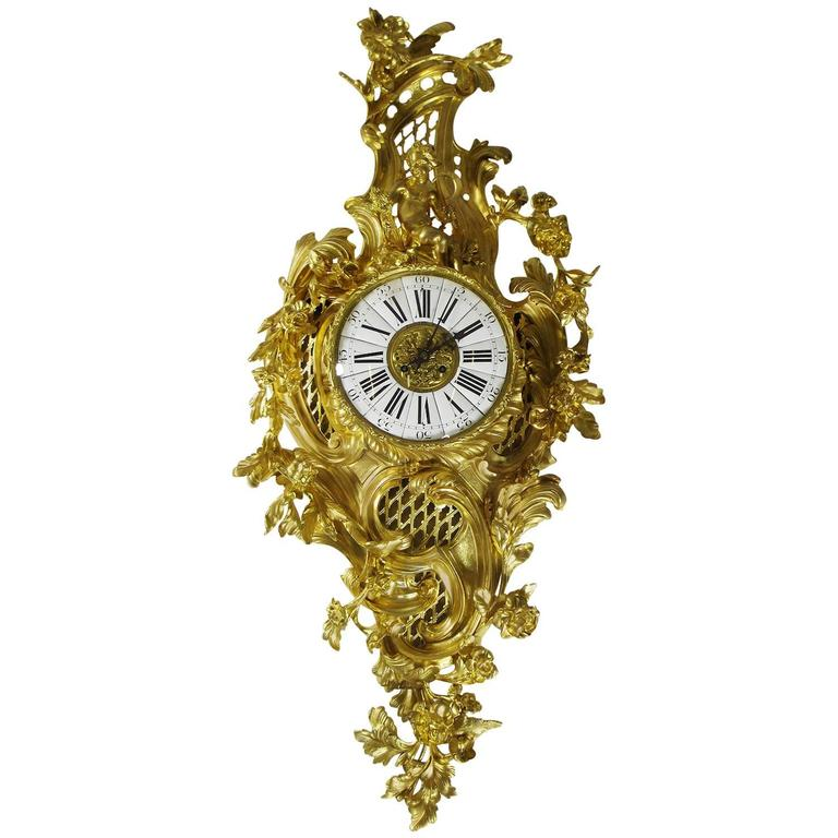 French 19th Century Louis XV Style Gilt Bronze Cartel Clock Lerolle Frères