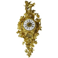 Fine French 19th Century Louis XV Style Gilt Bronze Cartel Clock Lerolle Freres