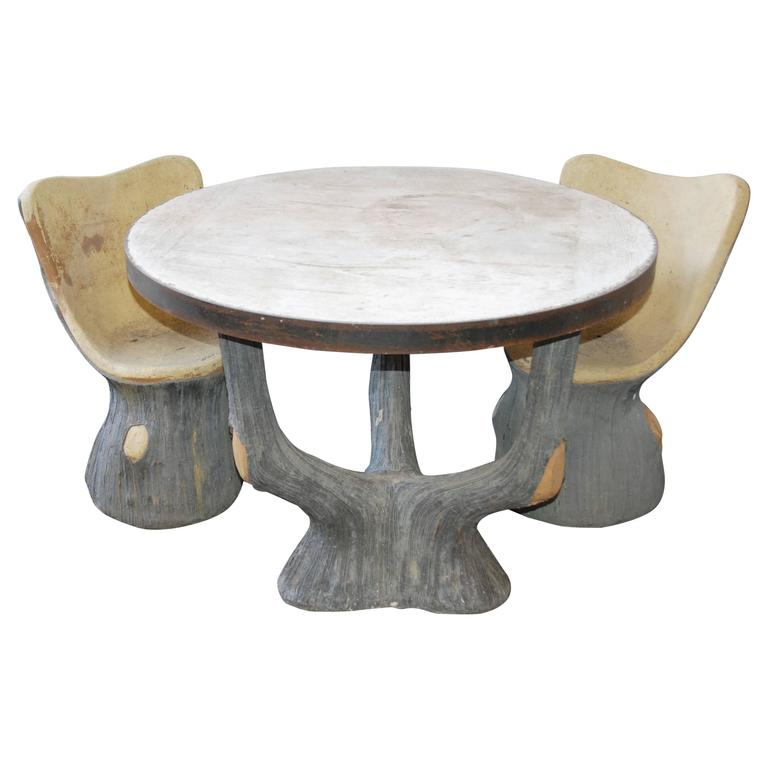 French Faux Bois Garden Table and Chairs For Sale