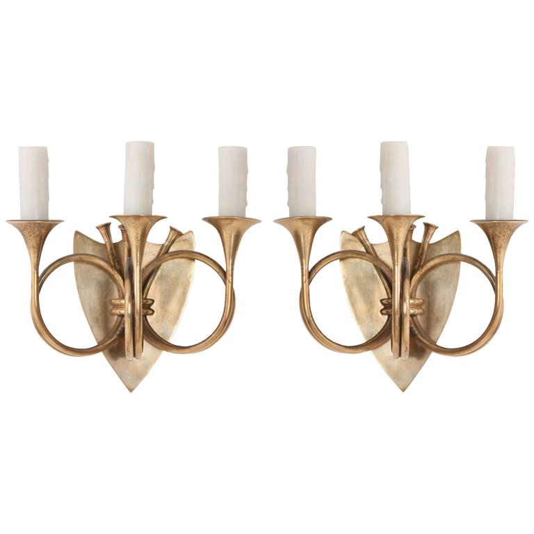 Pair of English 19th Century Brass Horn Sconces