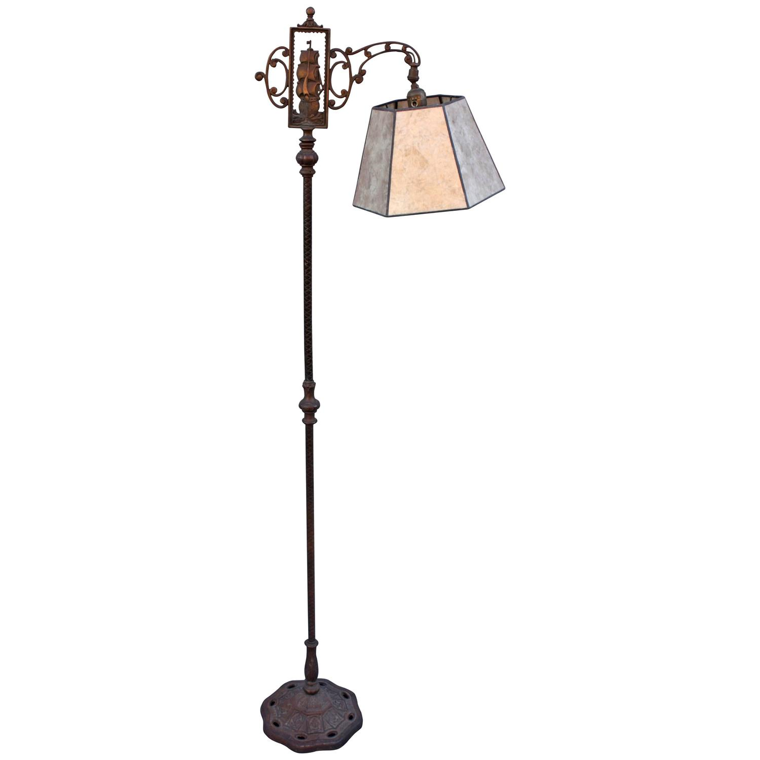 1920s floor lamp with galleon motif and new mica shade at for 1920 floor lamp