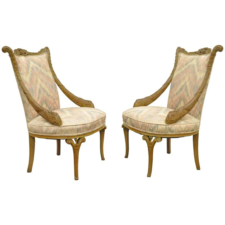Pair 1940s Hollywood Regency Carved Parlor Chairs Attributed To Grosfeld  House For Sale