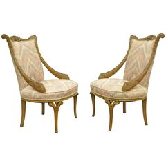 Pair 1940s Hollywood Regency Carved Parlor Chairs Attributed to Grosfeld House
