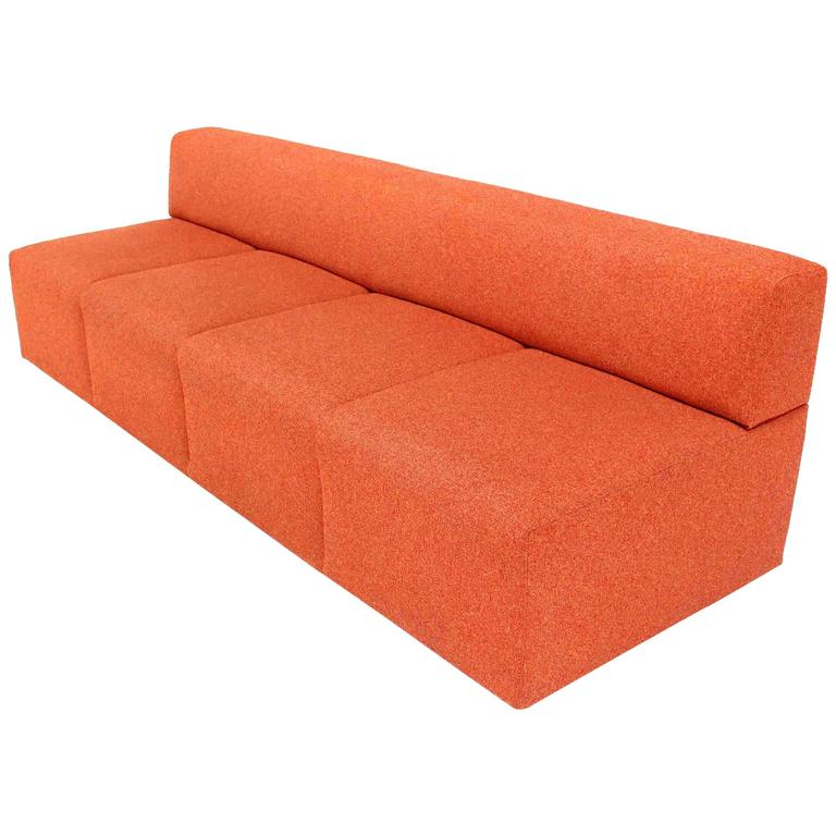 Orange Upholstery Steelcase Sofa Booth For Sale At 1stdibs