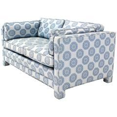 Blue Upholstery Mid-Century Modern Loveseat Settee by Henredon