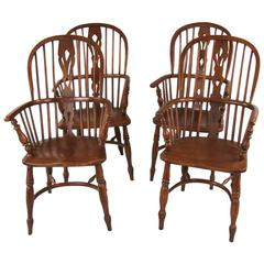 Set of Four English Elm High Back Narrow Arm Windsor Armchairs