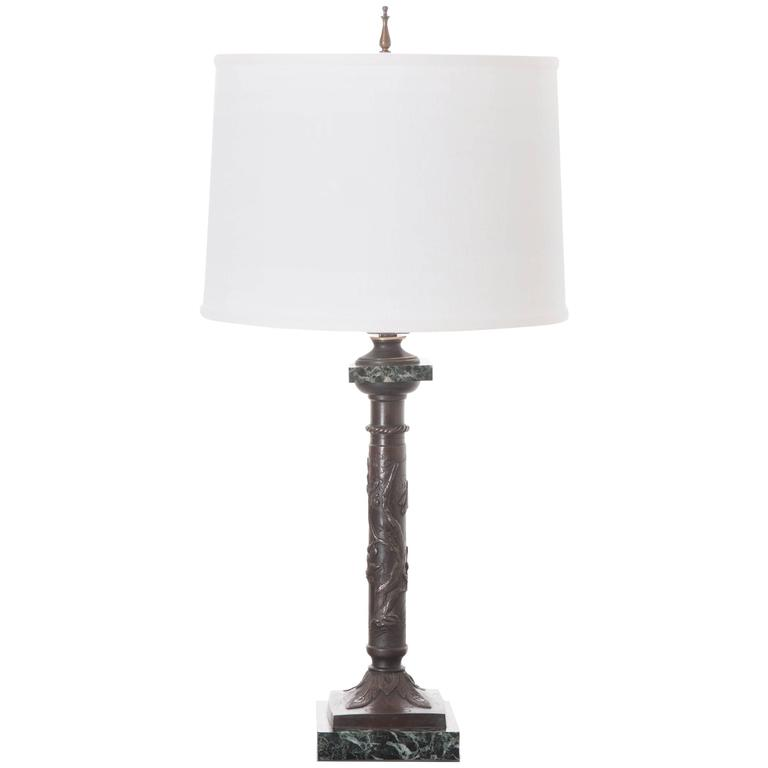 French 19th Century Bronze and Marble Decorative Lamp For Sale