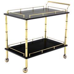 Faux Bamboo Brass Gallery Two Tier Rectangular Rolling Bar Tea Cart