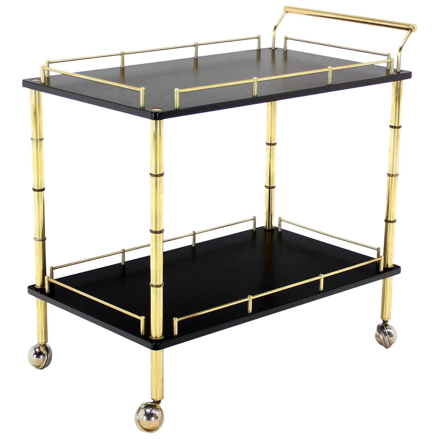 Faux Bamboo Brass Rolling Bar Cart For Sale At 1stdibs