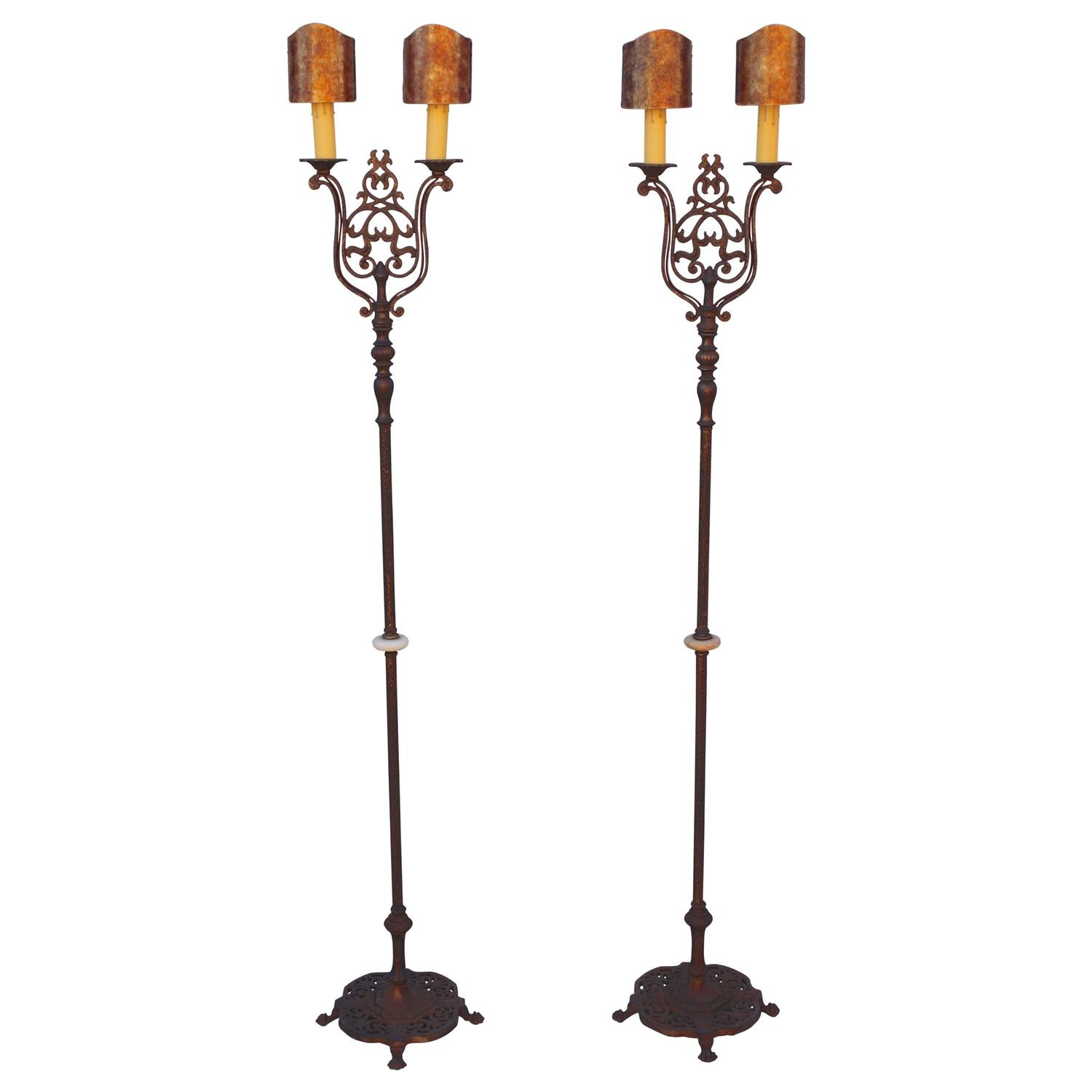 Antique pair of 1920s double floor lamp torchieres at 1stdibs for 1920 floor lamp