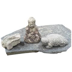 Japan Antique Collection 19th Century Stone Buddha, Tortoise and Frog Sculpture