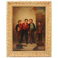 19th Century Genre Painting of Shoe Shine Boys