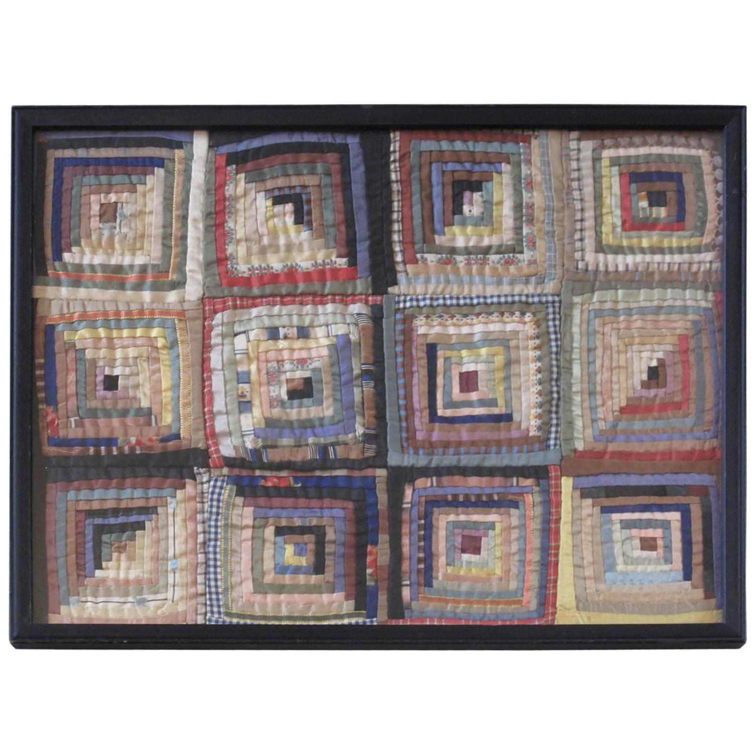 Miniature Framed Courthouse Steps Quilt Fragment For Sale At 1stdibs. Full resolution‎  file, nominally Width 1500 Height 1500 pixels, file with #7D6B4E.
