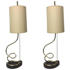 Pair of Decorative Brass Spiral Lamps