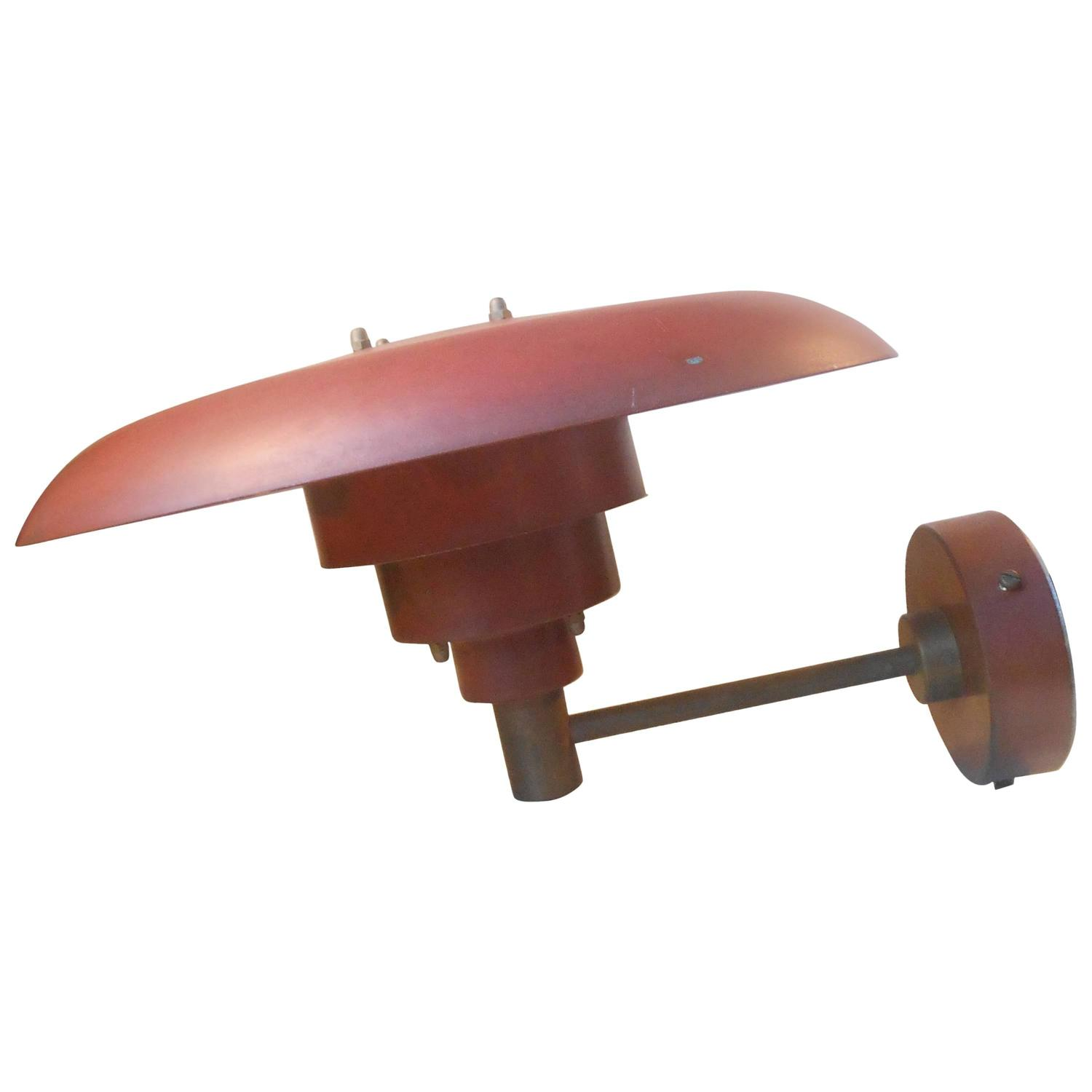 Very Rare Lyfa Outdoor Wall Light in Red Verdigris Copper in the Manner of PH at 1stdibs