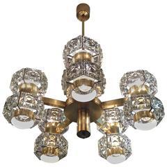 Multi Arm Glamourous Brass and Crystal Kinkeldey Chandelier