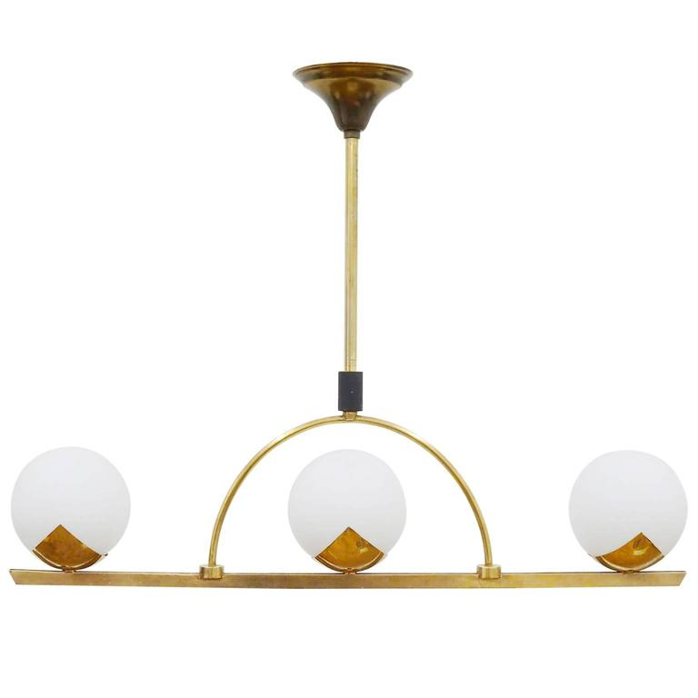 Modernist Brass and Glass Chandelier by Arlus, France 1950s