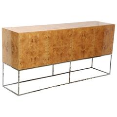 Side Board, by Milo Baughman for Thayer Coggin Credenza of Burl Olive Wood