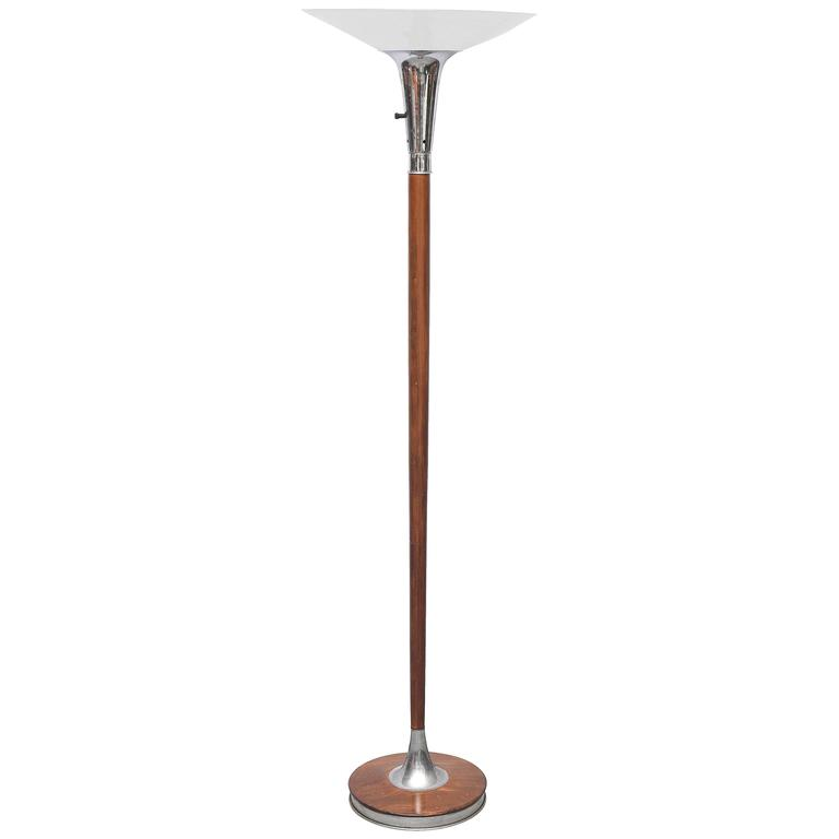 Lovely Wood Chrome And Gl Floor Lamp Or Torchiere Usa 1940s