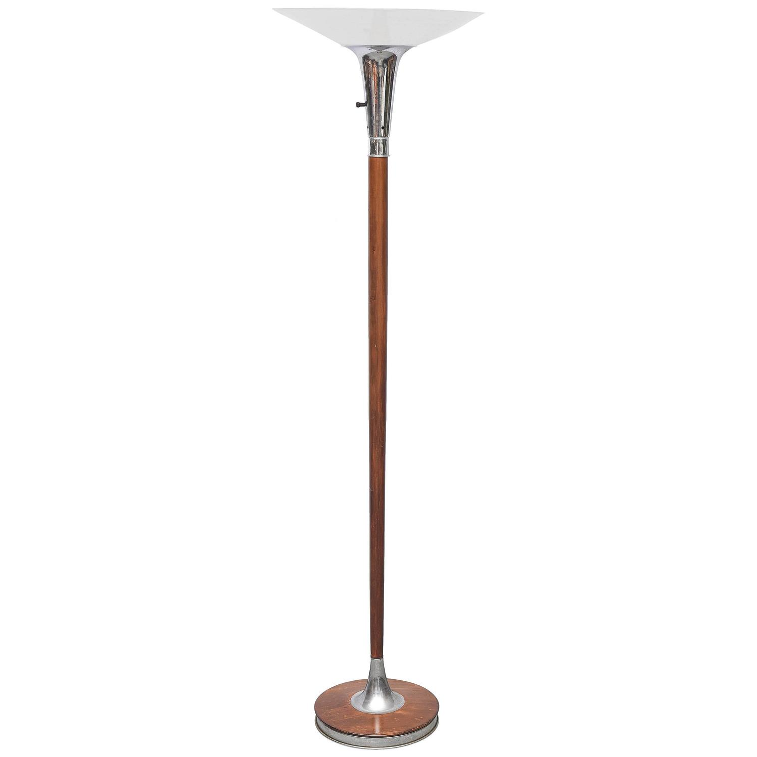 Lovely wood chrome and glass floor lamp or torchiere usa for 1940s torchiere floor lamp