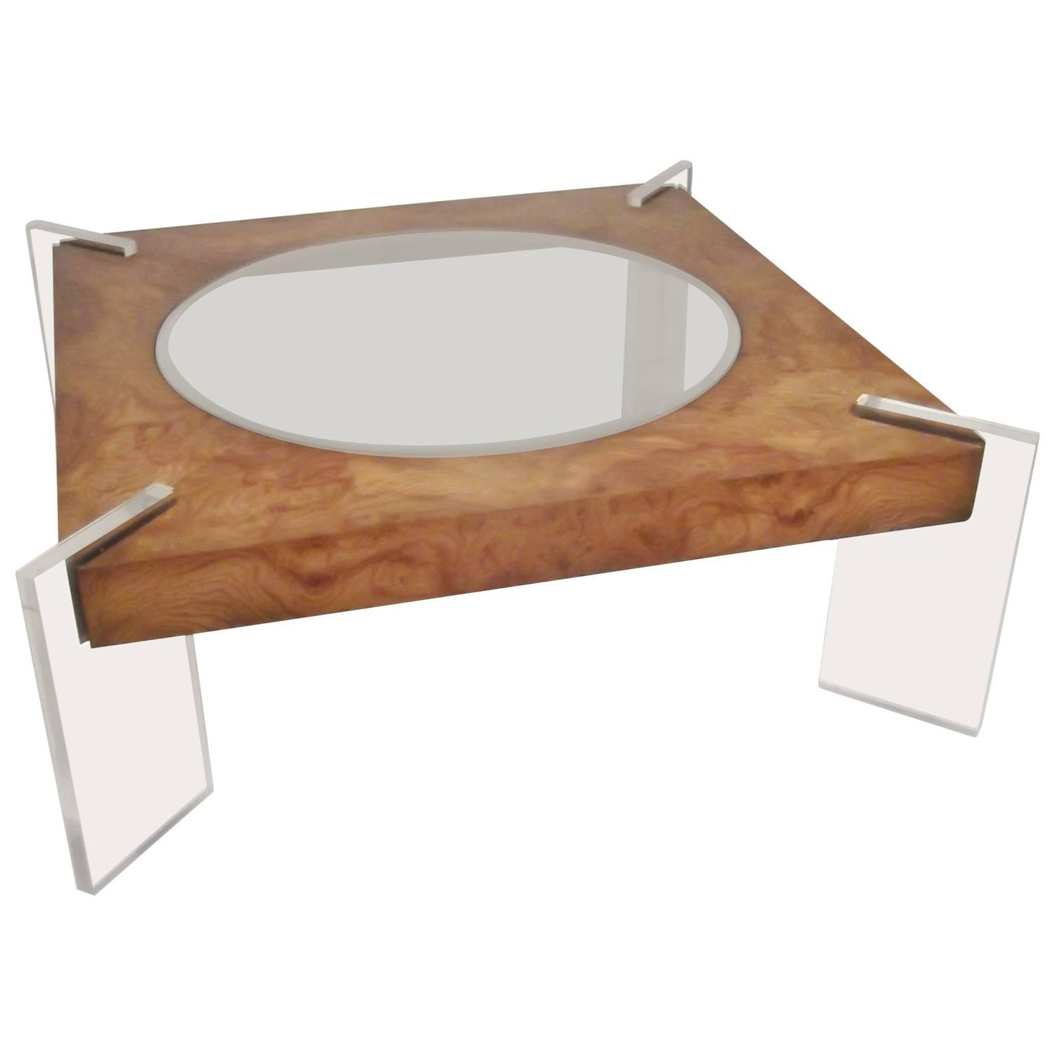 Vladimir kagan lucite and burl walnut coffee table for sale at 1stdibs geotapseo Gallery