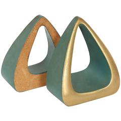 1950s Brass Tear Drop Bookends
