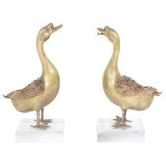 Pair of Bronze Geese