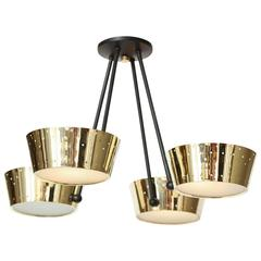 Pierced Brass Four-Light Chandelier by Gerald Thurston for Lightolier