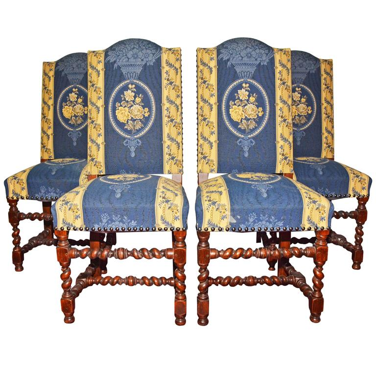 Four Jacobean Style Upholstered Dining Chairs