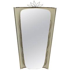 Mid Century Modern Vintage Wall Mirror Trumeau Mirror Style of Gio Ponti 1950s