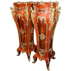 Pair of Louis XV Style Marble-Topped Ormolu-Mounted Inlaid Pedestals