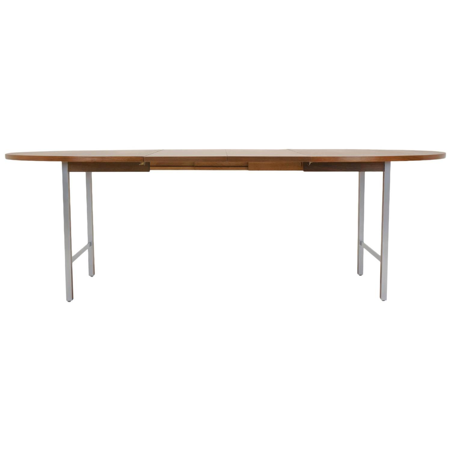Paul McCobb Expandable Dining Table Rare Walnut And Brushed Steel At