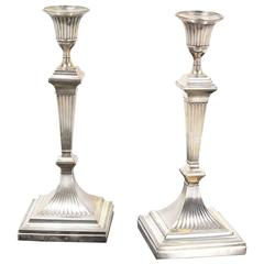 Pair 12 of inches Tall Square Base Art Deco Sterling Candle Sticks
