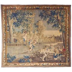 "18th Century French Pastoral Aubusson Tapestry ""La Fete"" with Original Border"