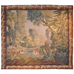 Large 18th Century French Pastoral Aubusson Tapestry with Goats and Flute Player