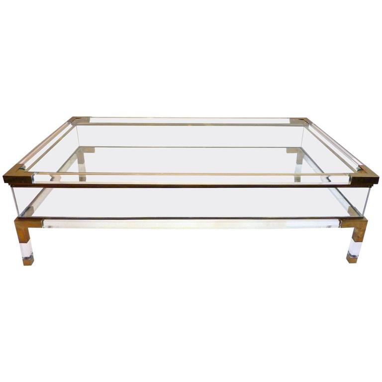 sliding top lucite and brass coffee tablemaison jansen at 1stdibs