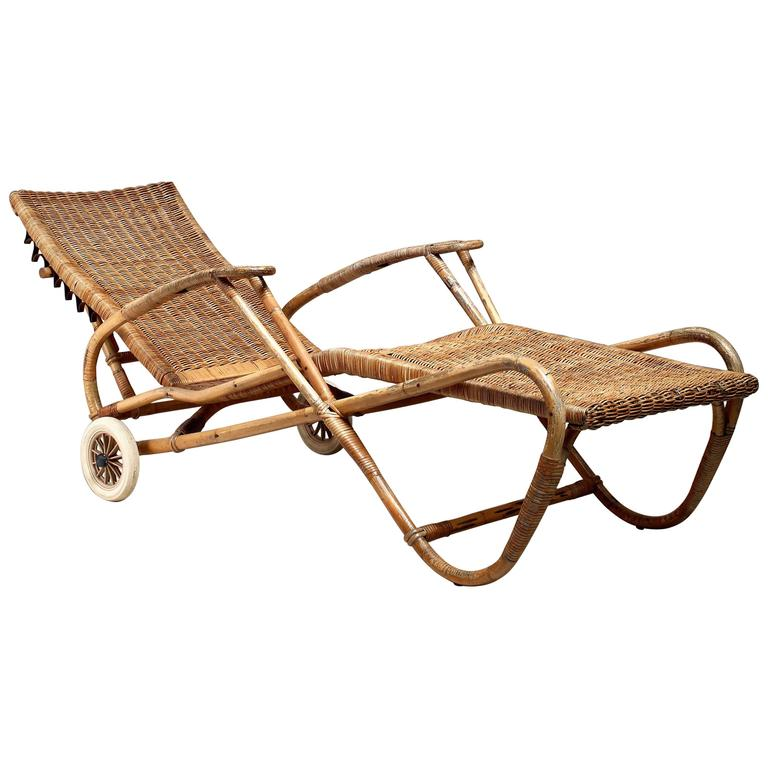 Adjustable bamboo and rattan chaise with wheels germany for 1930s chaise lounge