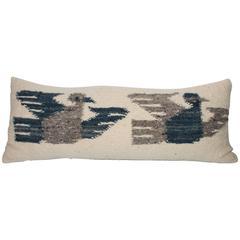20th Century Birds in Flight Indian Weaving Bolster Pillow