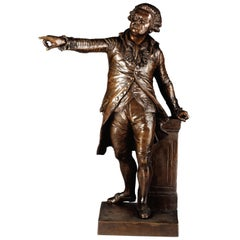 19th Century French Patinated Bronze Sculpture of Mirabeau by F. Truphene, 1857