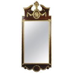 Danish Neoclassical Mahogany and Parcel Gilt Mirror