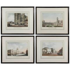 Four Framed Aquatints Depicting Views of Dublin, Ireland by J. Malton