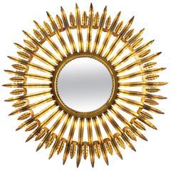 Hollywood Regency Gilt Iron Sunburst Mirror