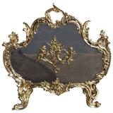French Brass Cherub and Floral Free Standing Fire Screen, Circa 1820