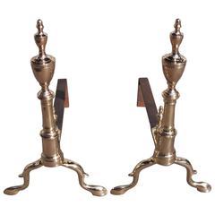 Pair of American Queens Metal Urn Finial Andirons, Philadelphia, Circa 1770