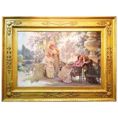 "Alois Hans Schram, Austrian 19th Century Oil on Canvas ""Springtime with Friends"""